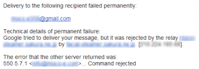 554 mail server permanently rejected message: